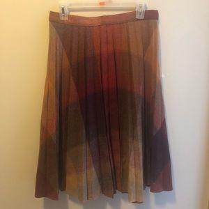 Vintage Pleated Flannel Midi Skirt
